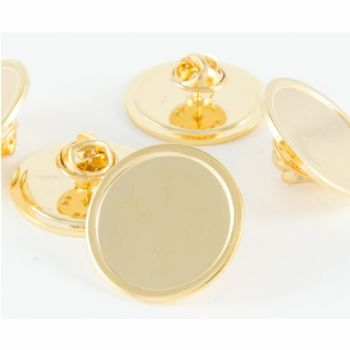 Superior Badge Blank round 25mm gold clutch and clear dome